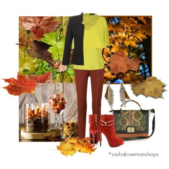 fall polyvore set - pop of color