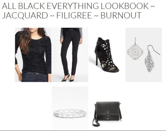 All Black Everything Lookbook ~ Jacquard, Filigree & Burnout